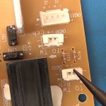 Speaker connectors on power board.