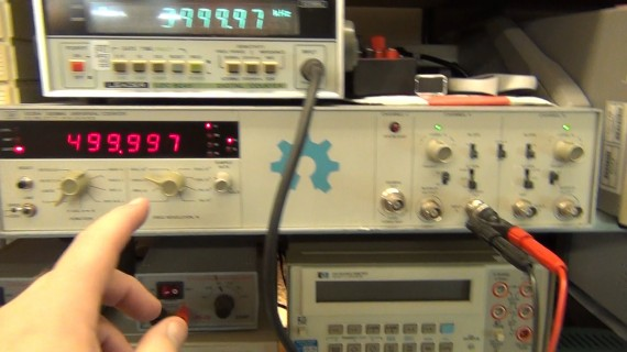My Leader records the 4MHz in and the HP records the 500KHz out of the chip so we can compare to the Arduino freq count output.